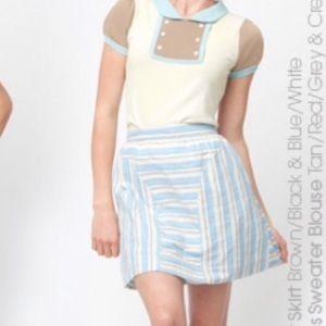 ModCloth's Dear Creatures blue oleander mini skirt